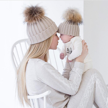 Winter Warm Mom&Newborn Baby Kids Hats Crochet Knit Hairball Beanie Cup 2PCS Mommy and me Knitting Balls Warm Winter Knitted Cap(China)