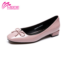 MeiRie'S 2016 wholesale style new design woman  shoes fashion sweet bowtie slip on shoes PU leather shoe free shipping