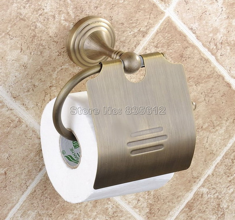 Antique Brass Wall Mounted Bathroom Toilet Paper Roll Holder Wba029<br>