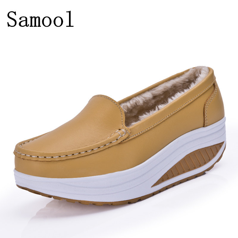 2017 Winter Classic Fur Women Loafers Slip-on Genuine Leather Ladies Flats Warm Plush Driving Boat Shoes Woman Moccasins Shoes<br>