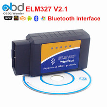 OBD2 ELM327 V2.1 Bluetooth Auto Diagnostic Scanner OBD/OBDII CAN-BUS Scantool ELM 327 BT Wireless Works On Android Torque/PC