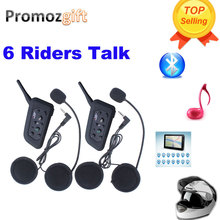 2016 New ! 2 pcs V6 Helmet Intercom 6 Riders 1200M Motorcycle Bluetooth Intercom Headset walkie talkie Helmet BT Interphone