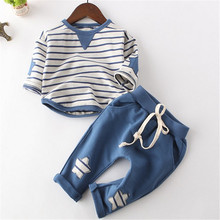 Spring boys clothing sets Casual Infant clothes children Boys Striped Top+ Star Pattern Long Pants Sets For 9M to 4Y boys(China)