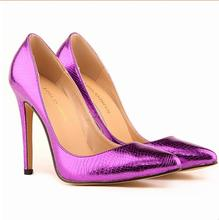 The small crocodile women pump sexy cusp shoe heels spring brand wedding pumps classic high-heeled large volume 35-42