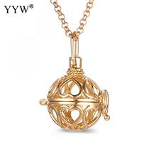 YYW Heart Pattern Round Perfume Aromatherapy Pendant Essential Oil Diffuser Pregnant Ball Locket Cage Pendant Women's Gift