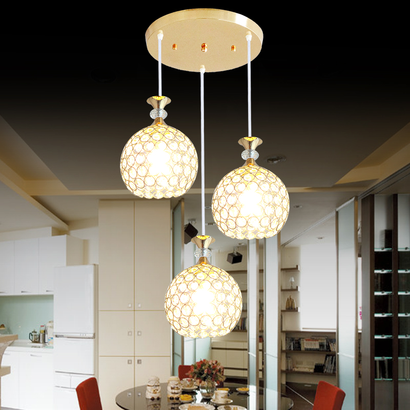 Modern minimalist crystal pendant light dining room lamp three head single head LED corridor hallway balcony SJ33<br>