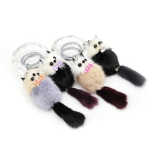 Brand New Cute Fluffy Pompom Raccoon Keychain Genuine Mink Fur Bear Key Chain Ring Pom Pom Doll Bag Charm Car Key Holder Gift