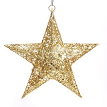 11.8-Inch Red/Golden/Silver Elegant Sparkly Iron Five-pointed Stars Christmas Tree Hanging Ornaments