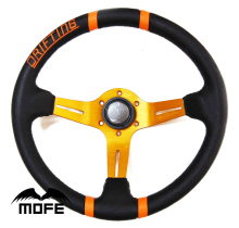 "MOFE Original Logo 3 Aluminum Gold Spoke Deep Dish Leather Drifting 14"" Steering Wheel"