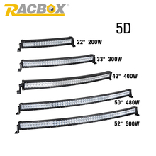 "RACBOX 5D 22""  32"" 42"" 50"" 52"" inch 200W 300W 400W 480W 500W Offroad Curved LED Work Light Bar 4WD Truck Tractor Boat SUV ATV"