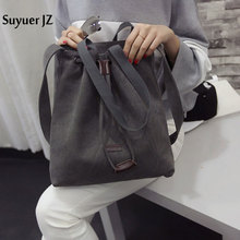 Suyuer JZ 2017 Women New Solid Color Shoulder Bag Thick Canvas Handbag Fashionable Casual Drawstring Bag 4 Colors