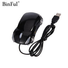 BinFul 1600DPI Mini Car shape USB optical wired mouse innovative 2 headlights mouse for desktop computer laptop Mice Brand new