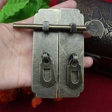 120*58mm Home Improvement Hardware Cabinet Box buckle Door buttons Antique hasp Strip With latch Door lock Wholesale(China)