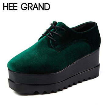 HEE GRAND Velvet Platform Shoes Woman 2017 Casual Creepers British Style Oxfords Spring Wedges Lace-Up Flats Women Shoes XWD4874