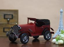 Home Decoration Crafts Figurines Miniatures vintage retro Iron Metal colored classic antique car model free shipping