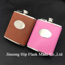 7oz stainless steel oval hip flask black/brown/pink   color with PU leather wraaped ,LOGO can be engraved Free on the oval part