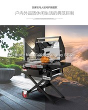 304 stainless steel folding with trolley charcoal bbq grill full kits portable mobile picnic camping barbecue grill for outdoor(China)
