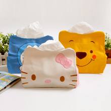 L25 Cute Kawaii PU Hello Kitty Tissue Box Bag Desktop Storage Student Stationery Kids Gift