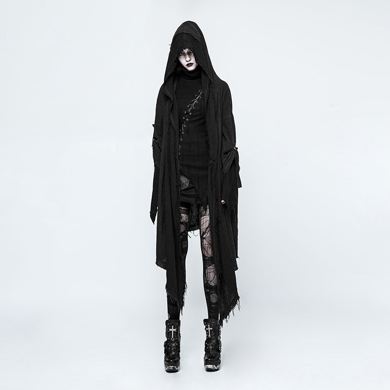 Punk Women Irregular Loose Death Cloak Coats Steampunk Gothic Black Casual Hooded Outer Wear Hot Selling(China (Mainland))