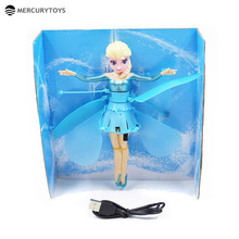 MERCURYTOYS Upgrade Induction Flying Elsa Fairy Toys Remote Control RC Flying Princess Helicopter toys for girls