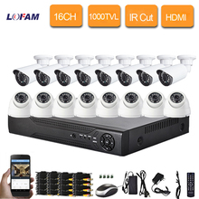LOFAM Phone view remotely 1000TVL outdoor indoor night vision CCTV video camera system home security surveillance 16ch DVR kit(China)