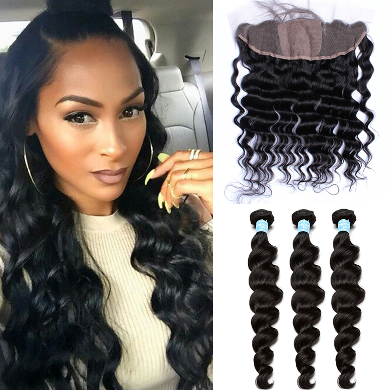 7A Silk Base Frontal With Bundles Loose Wave Ear To Ear Lace Frontal Closure With Bundles Peruvian Virgin Hair With Closure<br><br>Aliexpress