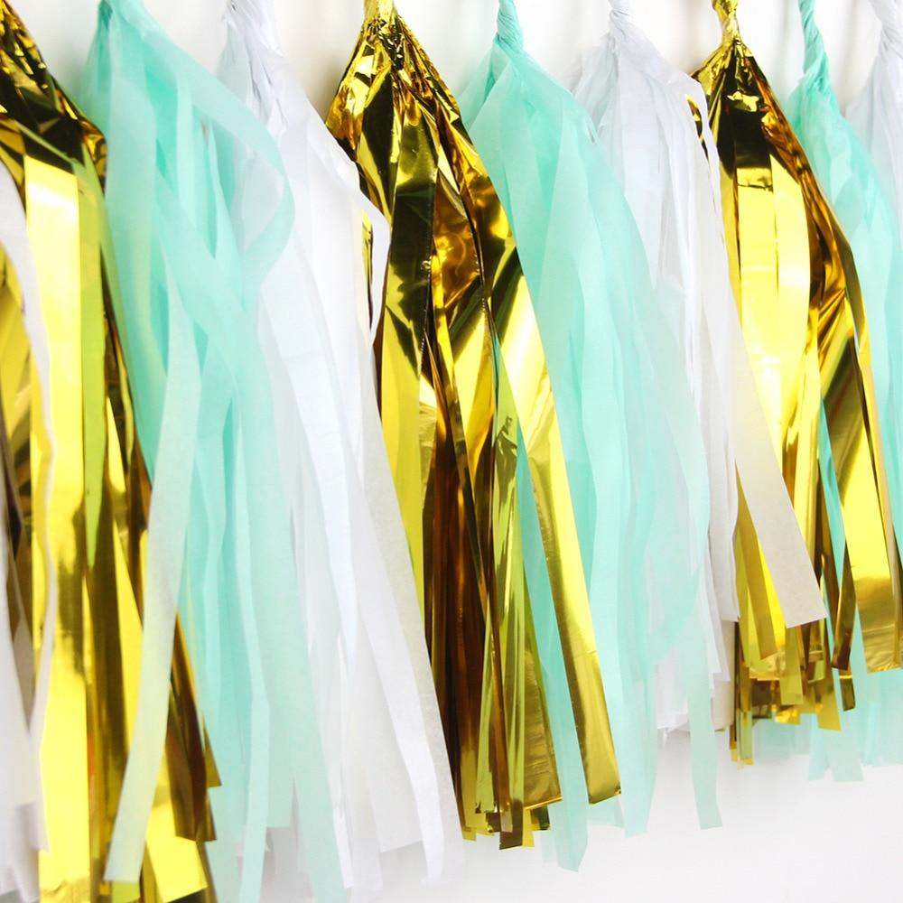 (Mint Gold White)15pcs Stunning Tassel Garland Tis...