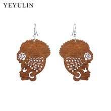 New Arrival Wooden Ethnic style African Female Head Wrap Turban Shaped Earrings For Women Ear Jewelry Gift