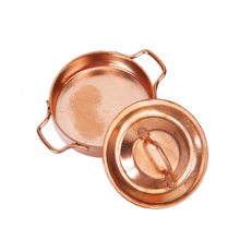 High Quality 1/12 Dollhouse Miniature Furniture Kitchen Alloy Copper Pot with Lid Pretend Play Furniture Toys for Children Kid
