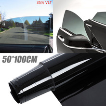 50*100CM 90% Anti-UV Window Tint Shade Film Tinting Roll Kit VLT 35% Black Glass Auto Car Light Stickers