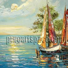 Boat oil painting - nice Seascape Palette knife oil painting as holiday gift,Support wholesale(China)