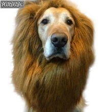 panDaDa Puppy Halloween Pet Wig Fancy Faux Fur Large Breed Dog Become Fake Lion New Neckerchief Costume 80cm(China)