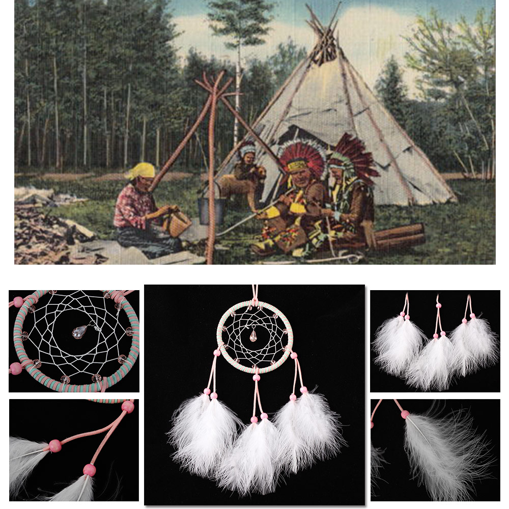 Car interior hanging - Dream Catcher Handmade Wall Home Decor Pink Crystal Feather Car Interior Hanging Pandent High Quality