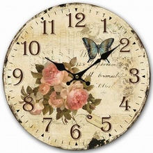 Modern Design Wall Clock Butterfly Flower Vintage Retro Antique Wooden Wall Clock Big Size Home Decor Clock On The Wall