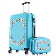 Earth tell luggage bag valiz suitcase bags women travel BOX,ABS+PC A set of trolley case,new style, traveling ,lock, mute,12 22(China)