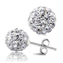 Free Shipping High Quality DIY Jewelry Shamballa Earrings Cheap Silver color Zircon Disco Ball Shamballa Stud Earring Gift