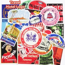 50 Pcs Retro Style Travel Hotel Logo Paris Rome Trip Luggage Stickers for Laptop Luggage Toy Waterproof Decal Creative Sticker