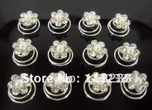 60PCS Rhinestone Hair Swirls Bridal Hair Twists Spins, Coils, Spirals(China)