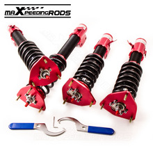 Full Set Adj. Damper Coilovers For Subaru Impreza 02-07 WRXGDB GDA 04 STI Shocks RED shock struts 24 Ways Damper Coilover Shocks