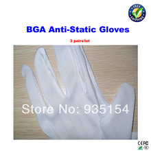 3 pairs/lot bga anti-static gloves bga rework machine accessories reballiing kits, esd gloves, esd working gloves(China)