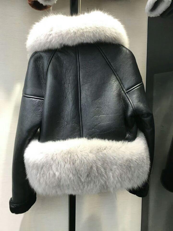 genuine sheep leatherskin jacket fox fur cooar coats (34)