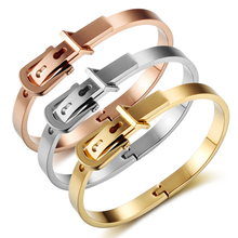 Clasps Belt Buckle Bracelets Punk Women Jewelry Smooth Simply Fashion Gold Color 8mm Wide Stainless Steel Bracelets & Bangles(China)