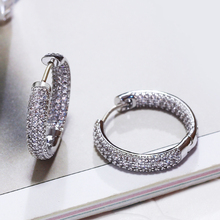 Hoop earring for night bar party Women Earrings Micro setting Cubic Zirconia allied express Circle Hoop Earring bijoux Jewelry(China)