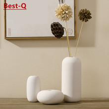 Free shipping White ceramic vase ornaments modern minimalist living FLOWER inserting device table centerpiece.