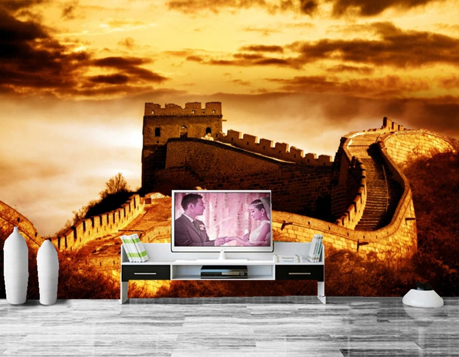 Chinese ancient architecture city wallpaper papel de parede,hotel restaurant living room tv sofa wall bedroom 3d wallpaper mural<br>