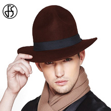 FS Vintage Mens Wide Brim Wool Fedora Brown Wine Red Felt Hat For Men Winter Gorra Hombre Trilby Hats(China)
