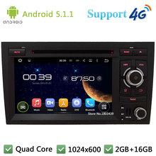 "Quad Core 7"" 1024*600 Android 5.1.1 Car DVD Player Radio Stereo PC With 3G/4G WIFI DAB+ GPS Map USB For Audi A4 S4 RS4 2002-2008"