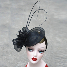 Black Sinamay Fascinator Hats Special Women Feather Headwear elegant Ladies Headband for Kentucky Derby cocktail wedding party