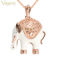 VOGEM Elephant Necklace Pendant Rhinestone 18 K Rose Gold Plating Real Austrian Crystal Animal Sweater Chain For Women Daughter(China)