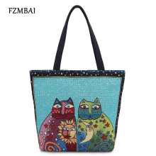 FZBMAI Jacquard Embroidered Cat Pattern Canvas Tote Bag Colorful Kitten Printing Single Shoulder Bag(China)